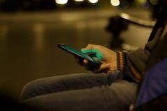 Close up of a man using mobile smart phone Stock Photos