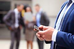 Close up of a man using smart phone. Close up of a men using mobile smart phone Stock Images
