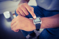 Close-up of man using smart watch Royalty Free Stock Photography