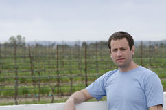 Close up of man in a vineyard. Royalty Free Stock Photo