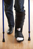 Close Up Of Man Walking With Crutches And Cast Royalty Free Stock Image