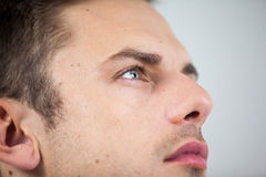 Close-up of man wearing contact lens Stock Photos