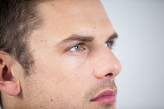 Close-up of man wearing contact lens Royalty Free Stock Photo