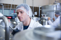 Close up of a man wearing a hair net Stock Images