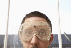 Close-Up Of Man Wearing Protective Goggles Royalty Free Stock Image