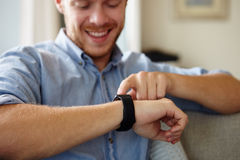 Close Up Of Man Wearing Smart Watch Stock Photography