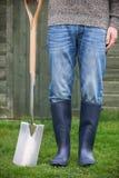 Close Up Of Man Wearing Wellingtons Holding Garden Spade Royalty Free Stock Photos
