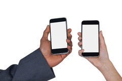 Close-up of man and woman holding mobile phone Stock Images
