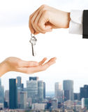 Close up of man and woman with house keys Royalty Free Stock Photos