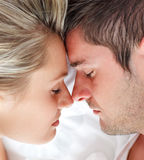 Close-up of man and woman sleeping together Royalty Free Stock Photos