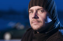 close up of man woolly hat Stock Photo