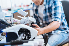 Close up of a man working hard with drone Royalty Free Stock Photo