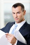 Close up of manager with draft Royalty Free Stock Photo