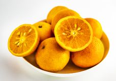 A close-up of citrus on a white background royalty free stock image