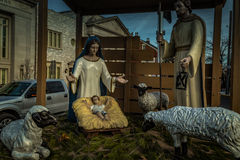 Close Up of Manger Scene stock photography