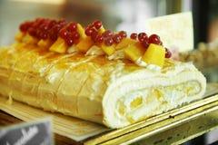 Close up mango cake roll Royalty Free Stock Image
