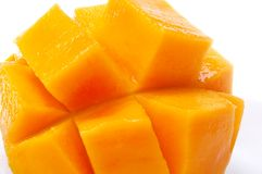 Close up of mango scored. And spread apart Stock Photo