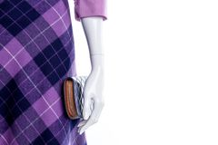 Close up mannequin in purple patterned skirt. Female mannequin with modern skirt and wallet close up, copy space. Brand clothes and accessories for ladies Stock Images