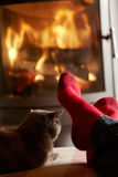 Close Up Of Mans Feet Relaxing by Fire With Cat. Close Up Of Mans Feet Relaxing By Cosy Log Fire With Cat Stock Photography