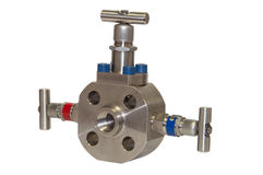 Close up manual valve or needle valve of high pressure process on white background Stock Photo