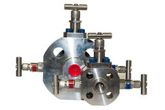 Close up manual valve or needle valve of high pressure process on white background Royalty Free Stock Photography