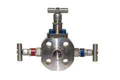 Close up manual valve or needle valve of high pressure process on white background Royalty Free Stock Image