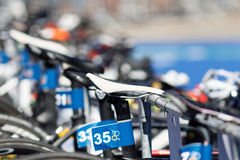 Close-up of a many bicycle saddles on a triathlete bicycle. STOCKHOLM - AUG 22, 2015: Close-up of of a many bicycle saddles on a triathlete bicycle in the Women' Stock Image