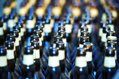 Close up of many bottles of beer Stock Photos