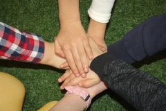 Close-up of many children`s hands holding together as a team on a nature background. Horizontally framed shot stock photo