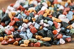 Close up on many colorful candy rocks. Royalty Free Stock Photos