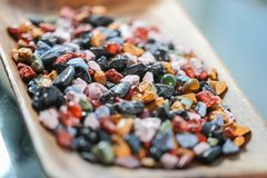 Close up on many colorful candy rocks. Stock Photography
