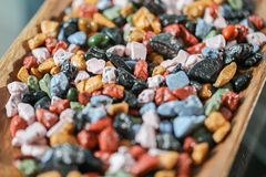 Close up on many colorful candy rocks. Stock Photo
