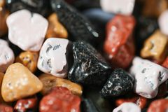 Close up on many colorful candy rocks. Royalty Free Stock Photo