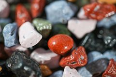 Close up on many colorful candy rocks. Stock Photos