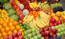 Close up of many colorful fruits on market stand Royalty Free Stock Image