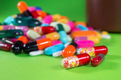 Close up of many colorful pills Royalty Free Stock Image