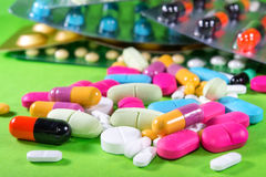 Close up of many colorful pills Stock Photo