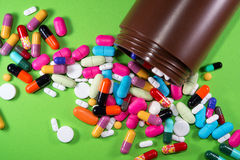 Close up of many colorful pills Stock Images