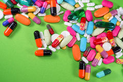 Close up of many colorful pills Royalty Free Stock Photography