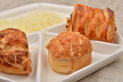 Close up of many different kind of fresh puff pastry with cheese Stock Image