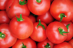 Close up of many fresh red tomatoes. Big fruit type Stock Photos