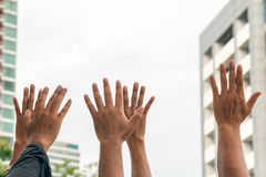 Close up of many human hands raising. As cheering crowd with warm light flare royalty free stock photography