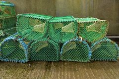 Close up of many lobster cages with a vintage process. Stock Photography