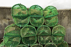 Close up of many lobster cages with a vintage process. Royalty Free Stock Images
