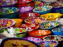 Close up Many Small Handpainted Souvenir Bowls royalty free stock photo