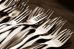 Close-up of many spoon and fork Royalty Free Stock Images