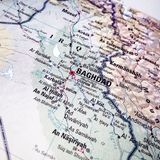 Close up map of Baghdad and Iraq Stock Image