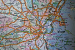 Close Up of a Map of Boston, Massachusets Royalty Free Stock Photos