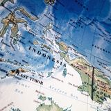 Close up map of Indonesia. A close up of a map of Indonesia royalty free stock image