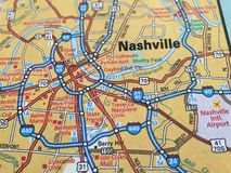 Close Up of a Map of Nashville, Tennessee Stock Photos